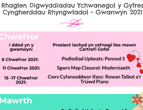 Rhaglen Digwyddiadau Ychwanegol y Gyfres Cyngherddau Rhyngwladol – Gwanwyn 2021
